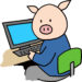 豚,パソコン,データを見る